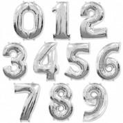Цифра Серебро 86 см. (гелий)