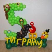Цифра 5 на полянке - Дерево с Angry Birds