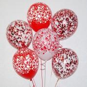 """Связка """"Любимой!"""" из 6 шаров с конфетти"""