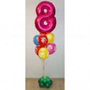 """Фонтан """"Цветочный"""" из 8 шаров с цифрой"""