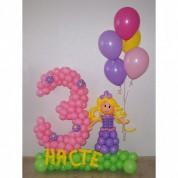 Цифра 3 с принцессой + имя и 5 шаров