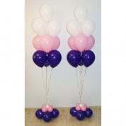 Фонтан из 10 шаров розовый, фиолетовый
