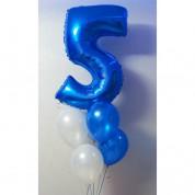Цифра 5 синяя с шарами