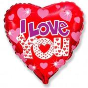 """Сердце """"Сияющий"""" Я тебя люблю 45 см."""