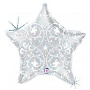 Звезда Филигрань Серебро 40 см