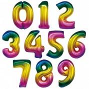 Цифра Радуга 77 см. (гелий)